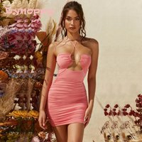 Casual Dresses Dynoppy Autumn Clothes For Women Sexy Slim Double Layered Ruched Jersey Dress Party Outfits Elegant Bodycon Mini