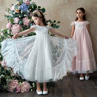 Girls Lace Bridesmaid dress Long A-Line Wedding Pageant Dresses Tulle Flower Party Gown Age 3-8Y Z4339