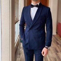 Men's Suits & Blazers Custom Business Men Formal Groom Wedding Double Breasted Blazer 2 Pieces Slim Fit Office Work Dress Suit
