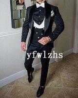 Classic One Button Handsome Groomsmen Shawl Lapel Groom Tuxedos Men Suits Wedding Prom Man Blazer ( Jacket+Pants+Vest+Tie) W898