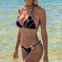 Women's Swimwear ZAFILLE 2021 Swimsuit Women Push Up Bikini Set Ornaments Bandage Two-Piece Suit Beach Bathing