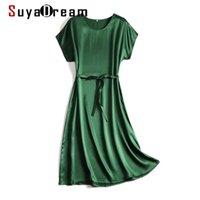 Abiti Midi donna suyadream Dress 100% Silk Satin Solid Bat Manica Abiti Abiti 2021 Primavera Estate Verde Black Chic Abiti