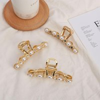 Hair Clips 2021 Korean Pearls Metal Claw Big Size Makeup Styling Tools Rhinestone For Women Accessories