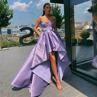 Lavender High Low Prom Dresses Simple Satin A Line Sweetheart Neckline Formal Evening Party Gowns Short Front Long Back Abendkleider Pageant Dress