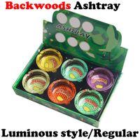 Forma redonda Backwoods Runtz Cenicero Luminoso Luminoso de cristal Tarra de ceniza Bandeja de cigarrillo Papelera cuadrada para el tabaco Cigar Cigar Accesorios para fumar Hierba Dry Herb DHL