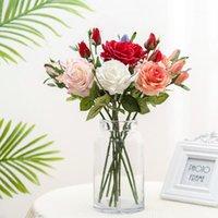Lan Kwai Fong Simulation Rose 1 Flower 2 Buds Moisturizing Fake Plant Home Wedding Decoration Green Pot Decorative Flowers & Wreaths1