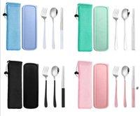 المحمولة أطباق مجموعات أدوات المائدة مجموعة أدوات السكاكين الفولاذ المقاوم للصدأ ملعقة شوكة عيدان عيدان أدوات الطعام مربع 3 قطع العشاء مطعم المطبخ BWC7078