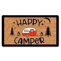 Funny Welcome Mats For Front Door Happy Camper Life Doormat Non-Slip Hello Mat With Quote Flannel Ma Carpets