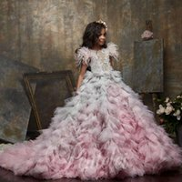 Luxury Ball Princess Flower Girl Dresses For Wedding Beaded Feather Girls Pageant Gowns Tiered Skirts Tulle Kids Prom Dress Girl's
