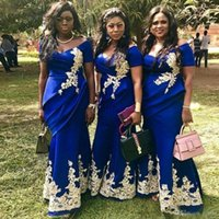 Royal Blue Mermaid Bridesmaid Dresses 2021 Off Shoulder Short Sleeve Draped Appliques Plus Size Wedding Guest Gowns Maid of Honor Dress