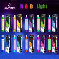 정통 Aivono 목표 화재 일회용 vape 펜 전자 담배 장치 rgb 빛 650mAh 배터리 4ml 미리 페리 카트리지 포드 1000 퍼프 빛나는 vapes 키트