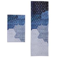 Carpets 2pcs Water Absorption Bath Mat Rug Non-slip Floor For Bathroom (Blue)