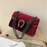 Vintage Clutch Abend Umhängetaschen für Frauen Luxus Samt Handtaschen Designer Goldkette Crossbody Taschen Square Bolsas Feminin C0508