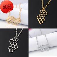 Fashion Semplice geometrico gioielli adorabile a nido d'ape esagono pendente collana personalità catena clavicola