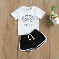 Toddler Kids Baby Girls Letter Sun Print Short Sleeve T-shirt+Shorts Outfits Set Girl Clothes Ropa Niña Meisjes Kleding Clothing Sets