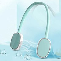 Leafless hanging neck fan USB rechargeable lazy hands-free dual cooling mini sports 360-degree rotating ultra-quiet