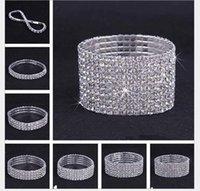 2021 1~10 Rows Tennis Shiny Crystal Bridal bracelet women White rhinestone cystl stretch wedding Bangle For Ladies Fashion Luxury Jewelry