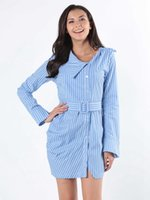 2019 neue frauen kleid slim fit modisch langarm stripe europäische und amerikanische stil hemd dress