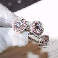스털링 실버 자연 moissanite 반지 쥬얼리 anillos bague diamant gemstone 여성을위한 결혼식 925 링 클러스터