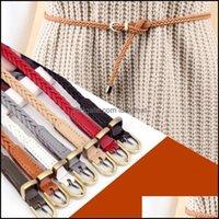 Cinturones Aesoramientos Aessories Aesoros Cinturones para mujer PU Cuero trenzado Vestido Cinturón Moda Caída causal 0.8cm Fino Dorado Pin Hebilla Drop Drop Drop