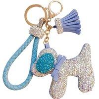 Cute pu leather animal crystal dog tassel keychain for key bag purse charms Keyring women girl handbag jewelry accessories gift