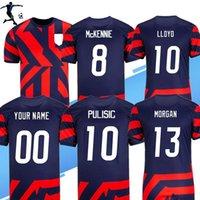 Uomini + Bambini 2021 2022 US Away Soccer Jerseys Donne Home Dempsey Pulisic Rapinoe Morgan 21 22 United States Camicia da calcio Uniforme
