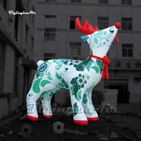 Personalized Christmas Character Model White Inflatable Reindeer 5m Winter Cartoon Animal Mascot Blow Up Deer Balloon For Yard And Park Decoration