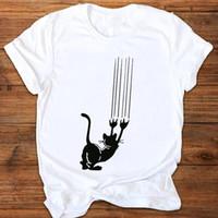 Графический мультфильм кошка смешной домашнее животное женские футболки повседневные моды печати одежда тройники топы женская рубашка женщин
