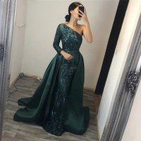 Elegant Maroon Overskits Prom Dresses 0ne Shoulders long Sleeves Lace Formal Evening Gowns Mermaid Sweep Train Arabic Prom Dress 2018