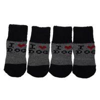 Dog Apparel Winter Ribbed Hem Acrylic Shoes Wear Socks For Pet