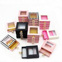 False Eyelashes Eyelash Packaging Box Bulk Wholesale Custom 3D Mink Lashes Boxes Package With Logo Makeup Square Case Diamond Handle