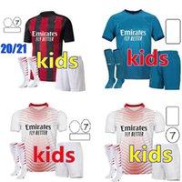 Kids Kit 2021 Ибрагимович Дом прочь 3-й футбол для футболки 20 21 Pietk Packa Theo Rebic Футбольные рубашки Молодежные мальчики Детская форма