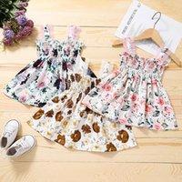crianças roupas meninas lace sling flor impressão dress crianças floral princesa vestidos moda verão boutique roupas de bebê