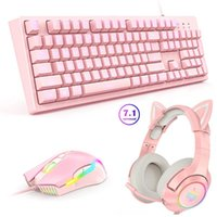 Keyboard Mouse Combos ONIKUMA 7.1 Stereo Sound Pink Gaming Headphones+Mouse And Set Headset With Mic & LED Light For Laptop PC PS4 PS5