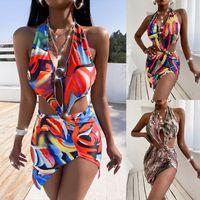 Pattern Stampa Backless Summer Swimwear Party Club Abiti Donne Donne Off Side Shoulder Spalato Skinny Dress Sexy Halter Neck Beach Wear