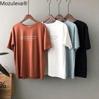 Mozuleva 2021 Casual O-Neck Brief Druck Damen T-Shirt Sommer Kurzarm Lose Weibliche Basic Tops Hemd Damen T Shirts 100% Baumwolle Frauen