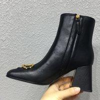 Зимняя мода роскошные женские сапоги натуральные кожаные квадратные пальцы ног туфли кнопка лодыжки 7,5 см каблуки женские веретки обуви высокие каблуки Мартин женщин ботинок 34-42 с коробкой