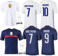 2020 2021 França Jersey Maillots de futebol Maillot Equipe de Francês 20 21 Mbappe Grisezmann Kante Pogba Tamanho S-4XL
