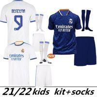 2021 Çocuk Seti Erkek Madrid Futbol Forması 22 20 21 MBappe Tehlike Alaba Sergio Ramos Benzema Vinicius 2022 2021 Camiseta Futbol Gömlek Üniformaları Kids Kit Jersey