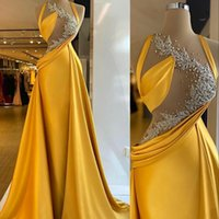 2022 Mermaid Evening Dresses Wear Bright Yellow Beaded Lace Appliques Sexy Top Illusion Prom Gowns Elegant Satin Ruched Women Formal Party Dress Vestido de novia