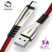 3ft 6ft 9ft Zinc Alloy Type-c Cables 5A Fast Charging Charger Micro USB Cable Supporting data transmission for samsung note 20 s20 cell phone