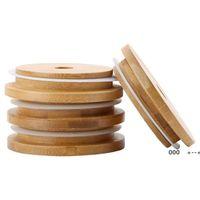 Bambu Kap Kapakları 70mm 88mm Kullanımlık Ahşap Mason Kavanoz Kapak Ile Saman Delik Ve Silikon Seal FWB10074