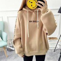 Женщины осень толстые свободные толстовки хараджуку буквы печатанные повседневные капюшоны пуловер женские сгущающиеся пальто new1