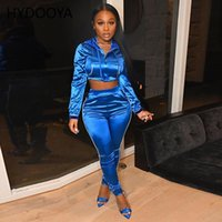 Women's Two Piece Pants Autumn 2021 Casual Tracksuits Women 2 Set Hooded Crop Top And Satin Striped Patchwork Zip Sexy Sweatshirt Sweat Suit
