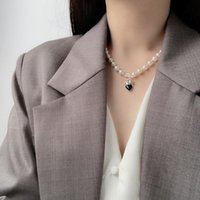 2021 new Fashio Sterling Silver Pearl Crown Necklace Medieval Retro Style Three-Dimensional Love Clavicle Chain Korean Ladies Jewelry Chains