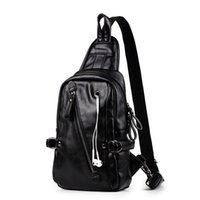 Factory Direct Sales 70%OFF Korean fashion men's chest bag leisure travel PU leather one shoulder cross Backpack