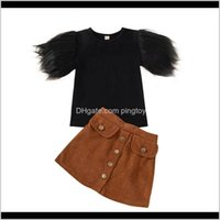 Sets Baby Clothing Baby, Kids & Maternityfashion Toddler Kid Outfits Feather Sleeve Round Neck T Shirt Tops Brown Buttons Skirt Girls Clothes