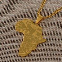 Yutong Anniyo Gold Farbe Afrika Karte mit Flagge Anhänger Kette Halsketten Afrikanische Karten Schmuck für Frauen Männer # 035321P