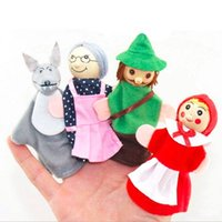 4pcs Lot Kids Finger Puppets Doll Plush Toys Cute Little Red Riding Hood Wooden Headed Fairy Tale Story Telling Hand Puppets