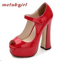 McLubgirl 14cm Heels Club Femme Femme Sexy Rouge PlatFrom super hautes pompes imperméable plate-forme haute talon chaussures WZ 210610